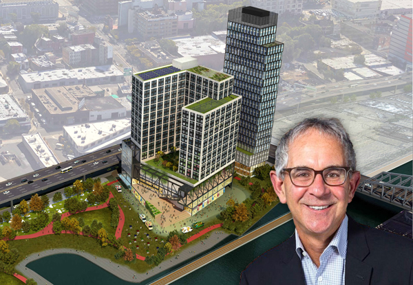 35501854 Ron Moelis and a rendering of Bronx Point (Credit: S9 Architecture)