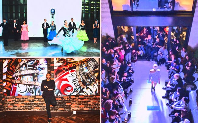 Clockwise from top left: Ballroom dancing at 100 Barclay Street, a fashion show at 251 East 61st Street and an art show at 45 Lispenard Street