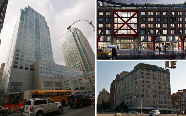 Clockwise from left: 350 Jay Street, 54 Noll Street and 1 Prospect Park West