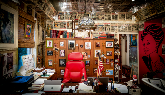 Adams' office, where the walls are lined with New York Post covers featuring stories that she broke.