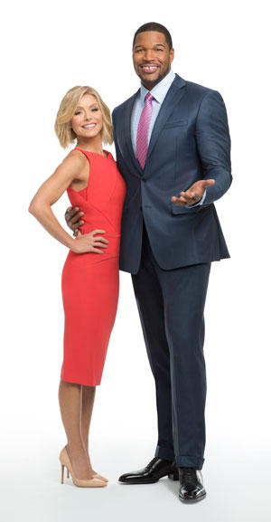 "Strahan with Kelly RIpa, who says the show ""hit the jackpot"" when he came on board. (Photo courtesy of Disney/ABC Home Entertainment and TV Distribution)"