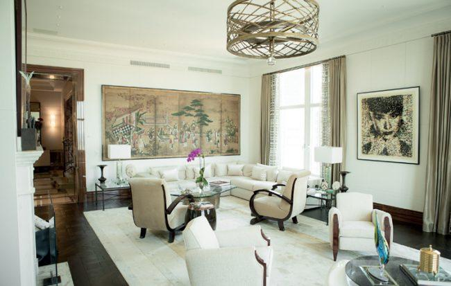 The living room was decorated in a French Moderne style by Sandra Nunnerley.