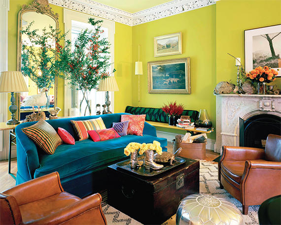 A vibrant room designed by Ellen Hamilton