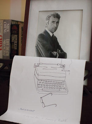 A drawing by Morley Safer in memory of their mutal friend Kurt Vonnegut
