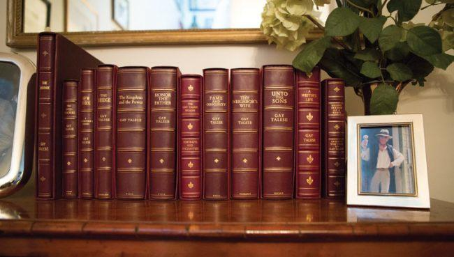 Leather-bound editionsof Talese's books.