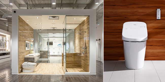The new Toto showroom in the Flatiron District and Toto's Washlet G400 offers a compact design