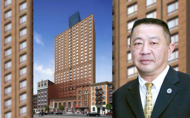A rendering of 338 West 36th Street and McSam Hotel Group chairman Sam Chang