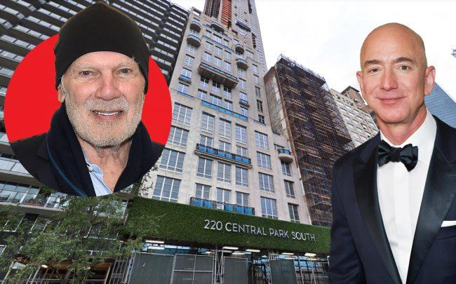 From left: Vornado Realty Chairman Steve Roth, 220 Central Park South, and Jeff Bezos (Credit: Getty Images and Google Maps)