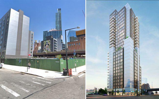 The development site and rendering of 27-01 Jackson Avenue
