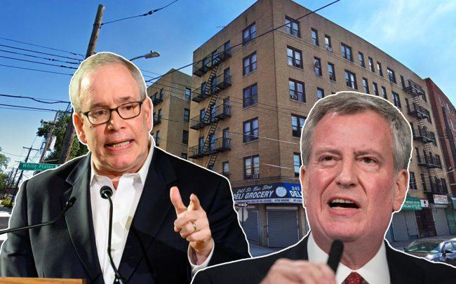 Comptroller Scott Stringer and Mayor Bill de Blasio with 710 East 243rd Street in the Bronx (Credit: Getty Images and Google Maps)