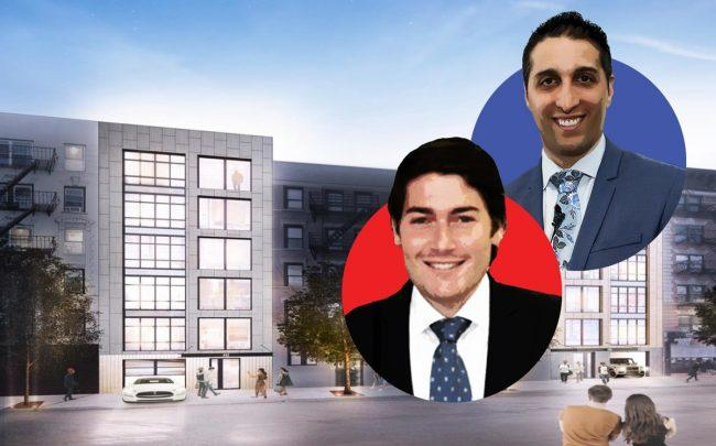 A rendering of 436-442 East 13th Street with Drew Popkin of Highpoint Property Group (red) and David Amirian of The Amirian Group (blue) (Credit: The Amirian Group)