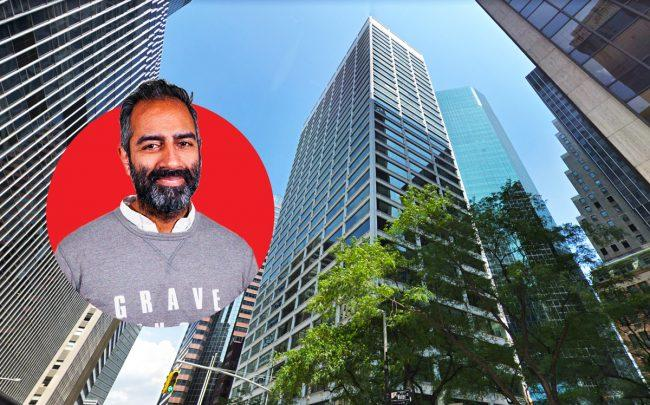 Knotel CEO Amol Sarva and 88 Pine Street (Credit: Google Maps)