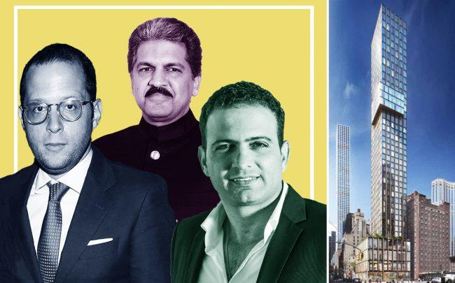 From left: Rotem Rosen of MRR Development, Anand Mahindra of Mahindra Group, Zahi Hagag of Hagag Group, and a rendering of 126 East 57th Street (Credit: Getty Images)