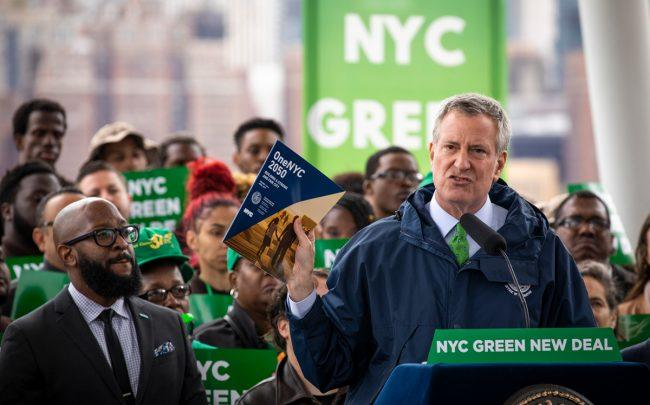 Mayor Bill de Blasio speaks about the city's strategy to respond to climate change (Credit: Getty Images)