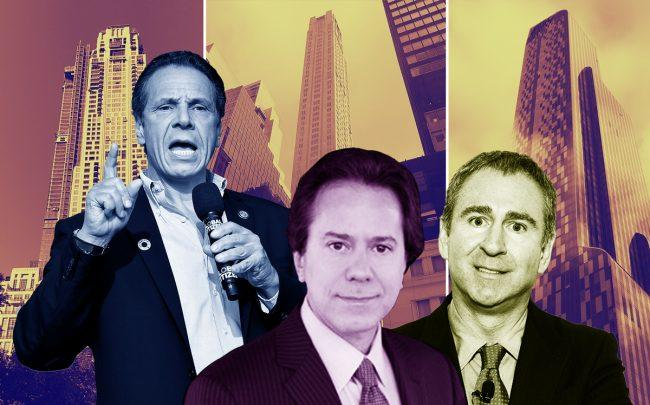 From left: 220 Central Park South, Governor Andrew Cuomo, 520 Park Avenue, William Zeckendorf, Ken Griffin, and 157 West 57th Street (Credit: Getty Images and Wikipedia)