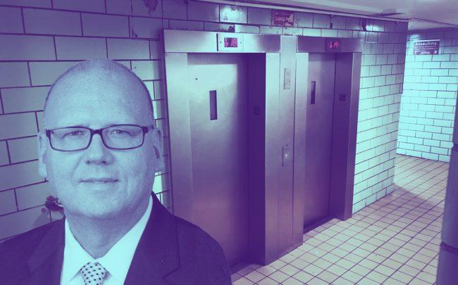 Ivo Nikolic and the elevators of 1595 Madison Avenue in East Harlem (Credit: NYCHA)