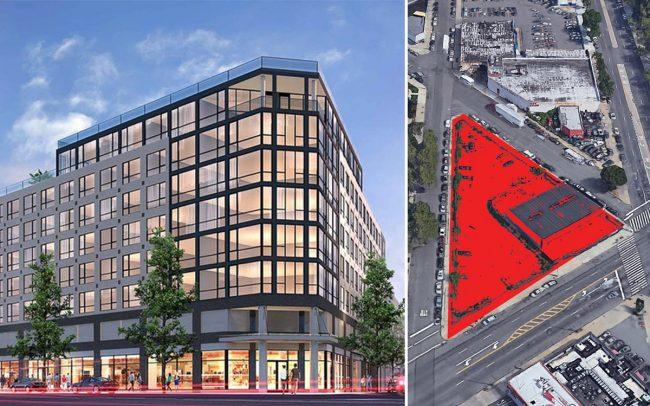 A rendering of 1134 Fulton Street and an aerial of 5901 Flatlands Avenue in Brooklyn (Credit: Karl Fischer Architects and Google Maps)