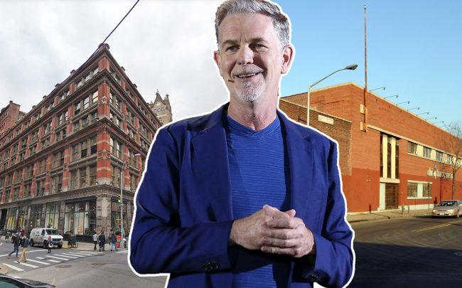 From left: 888 Broadway, Netflix CEO Reed Hastings, and 333 Johnson Avenue in Brooklyn (Credit: Getty Images, CityRealty, and Google Maps)