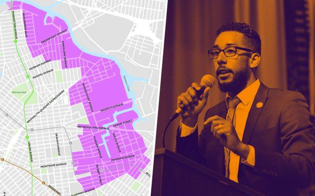 A map of rezoning area in North Brooklyn and Council Member Antonio Reynoso