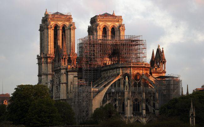 Notre-Dame Cathedral seen at sunrise following the major fire (Credit: Getty Images)
