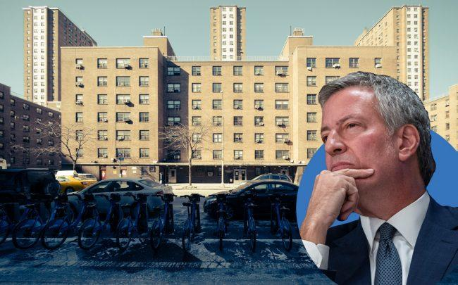 Chelsea's Fulton Houses at 119 9th Avenue and Mayor Bill de Blasio (Credit: NYCHA Redux via Parsons the New School for Design and Getty Images)