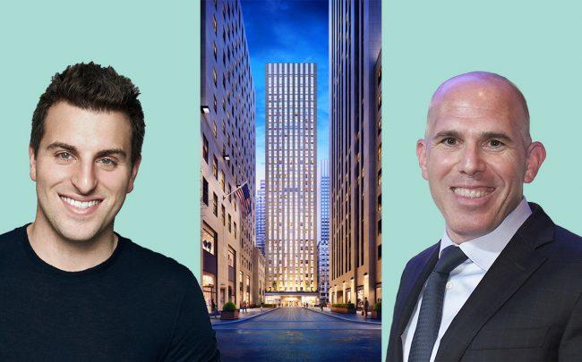 From left: Airbnb CEO Brian Chesky, 75 Rockefeller Plaza, and RXR Realty CEO Scott Rechler (Credit:RXR Realty and Getty Images)