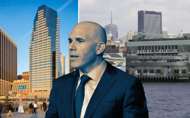 RXR Realty CEO Scott Rechler with 32 Old Slip and a rendering of Pier 57 (Credit: Getty Images)