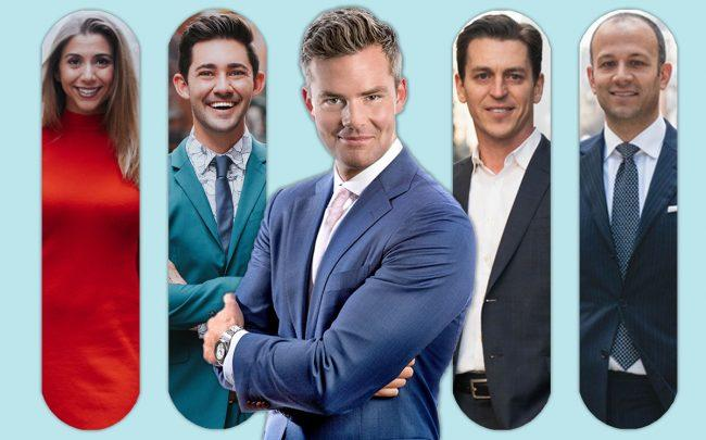 Ryan Serhant with brokers (left to right) Nicole Palermo, Nick Hovsepian, Scott Fava, and John Bataille