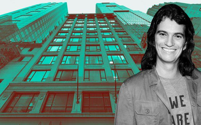 145 West 45th Street and WeWork CEO Adam Neumann (Credit: Google Maps and Getty Images)