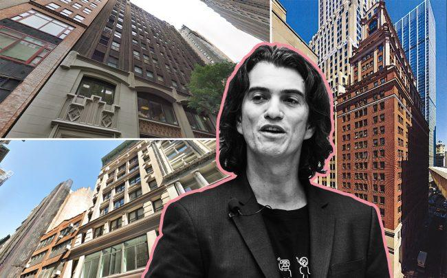 Clockwise from top left: 33 East 33rd Street, 44 Wall Street,  7 West 18th Street, and WeWork CEO Adam Neumann (Credit: Getty Images, Google Maps, and ADG Development)