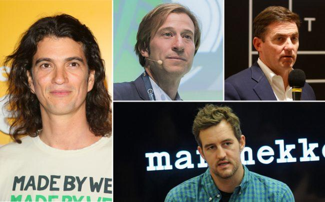 Clockwise from left: WeWork CEO Adam Neumann, Vice Chairman Michael Gross, CFO Artie Minson, and WeWork co-founder Miguel McKelvey (Credit: Getty Images)