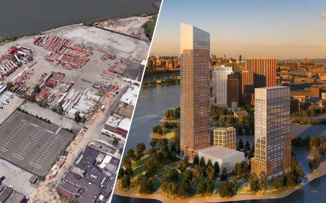 From left: 221 West Street, in Brooklyn and renderings of 1-15 57th Street (left) and 57-28 2nd Avenue in Queens (Credit: Google Maps and Handel Architects)