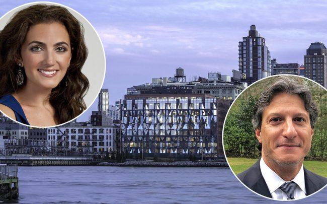 Rent the Runway CEO Jennifer Hyman,  10 Jay Street in Brooklyn, and Glacier Global Partners's Yaniv Blumenfeld (Credit: Harvard, Cornell, and Pavel Bendov)