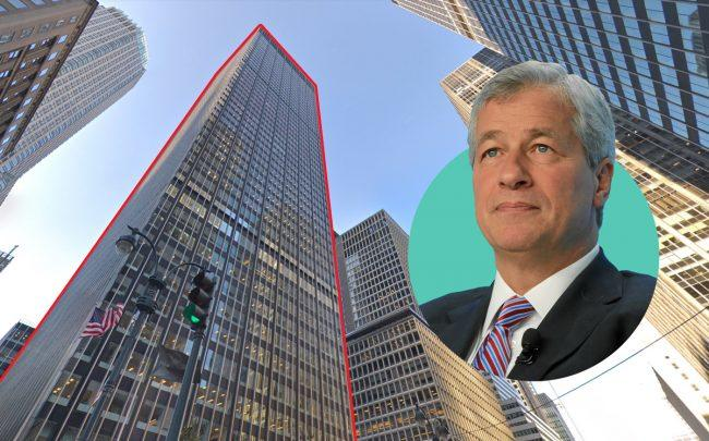 270 Park Avenue and JPMorgan Chase CEO Jamie Dimon (Credit: Google Maps and Wikipedia)