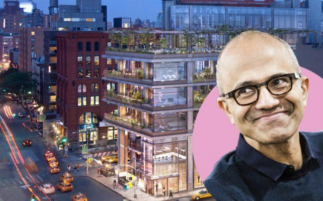 300 Lafayette Street  and Microsoft CEO Satya Nadella (Credit: COOKFOX Architects; Nadella via Wikipedia)
