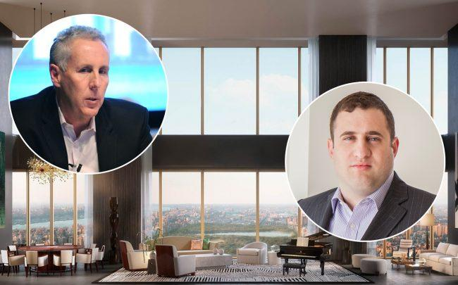 Property Markets Group's Kevin Maloney (left) and JDS Development's Michael Stern with an interior rendering of 111 West 57th Street (Credit: Getty Images)
