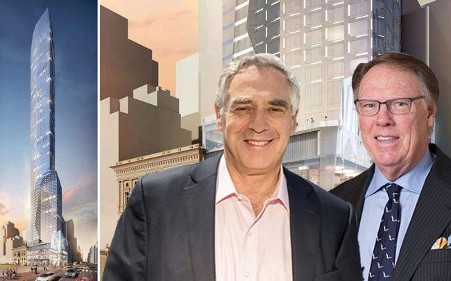 Renderings of 520 Fifth Avenue with Rabina Properties CEO Mickey Rabina and Ceruzzi Properties president Arthur Hooper (Credit: CityRealty)