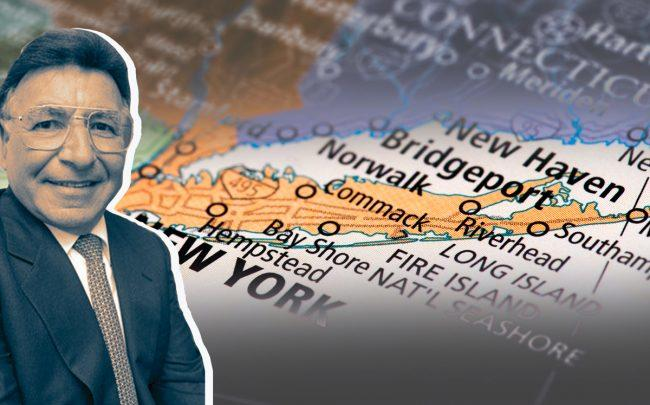 Robert Toussie and a map of Long Island (Credit: Alchetron and iStock)