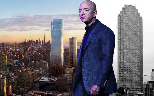 From left: One Manhattan West, Amazon CEO Jeff Bezos and One Court Square in Long Island City