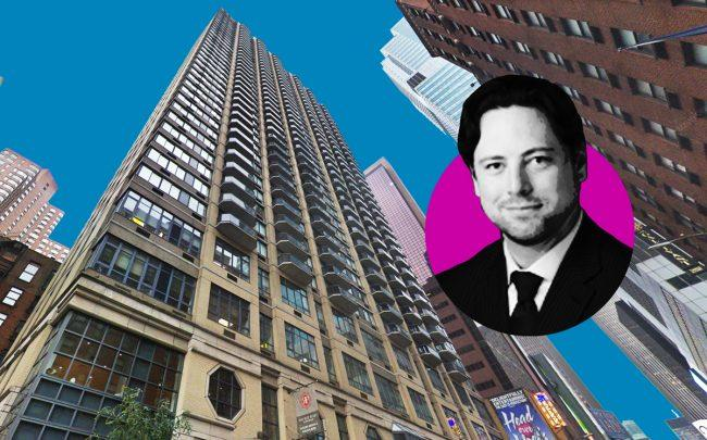 235 West 48th Street and Carlyle Group managing director Jason Hart (Credit: Google Maps and Carlyle Group)