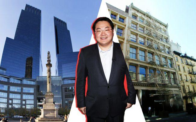 From left: 80 Columbus Circle, Jho Low, and 118 Greene Street