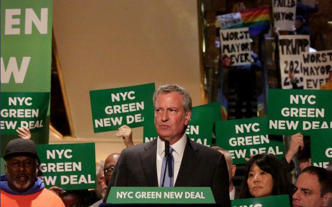 Mayor Bill de Blasio at a Green New Deal rally at Trump Tower (Credit: Getty Images)