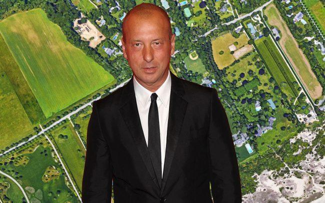 Helmut Lang and an aerial of the Hamptons (Credit: Getty Images and Google Maps)