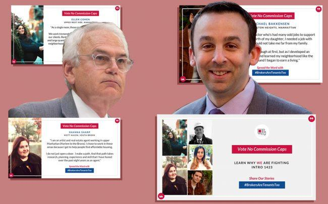 Council Members Robert Holden and Keith Powers with images of REBNY's recently launched social media campaign (Credit: Facebook, New York City Council, REBNY)