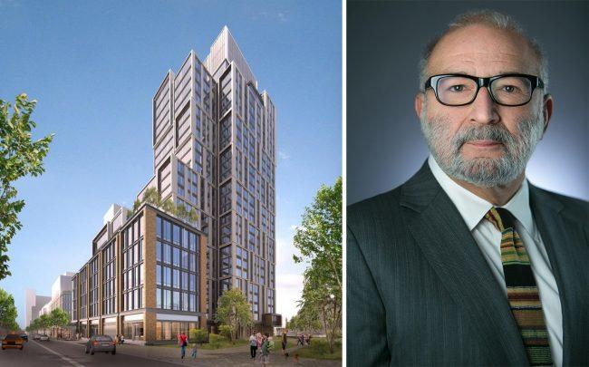 A rendering of 615 Dean Street in Brooklyn and TF Cornerstone president Frederick Elghanayan
