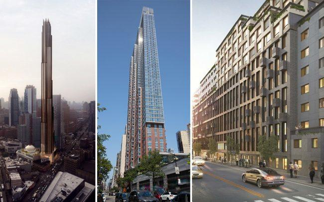 Renderings of 9 DeKalb Avenue in Brooklyn, 333 Schermerhorn Street in Brooklyn, and 11-35 49th Avenue in Long Island City (Credit: JDS Development and Elegran)