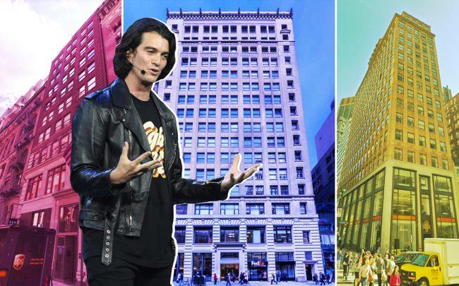 From left:  28 West 44th Street, 25 West 45th Street and 183 Madison Avenue with WeWork CEO Adam Neumann (Credit: Google Maps, APF Properties, and Getty Images)