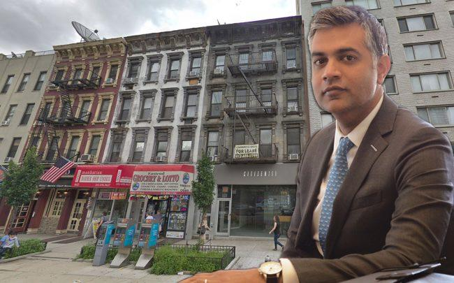 Megalith CEO Sam Sidhu and 1660 First Avenue (Credit: Tobias Truvillion|The Real Deal and Google Maps)