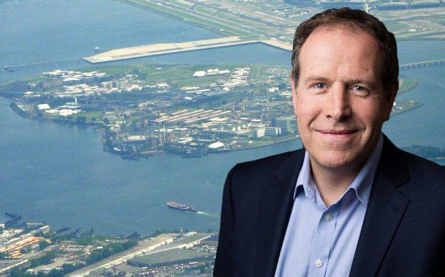 Steve Morriss, AECOM's Group President of Design and Consulting Services in the Americas, and Riker's Island (Credit: Wikipedia)