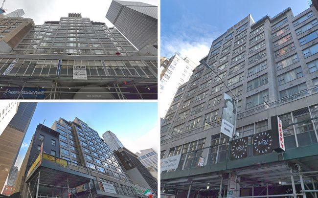 Clockwise from upper L: 155 East 55th Street, 210 East 58th Street and 65 West 55th Street (Credit: Google Maps)